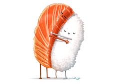 """Sushi Hug"" by andremuller and tihmoller Oh food, we love you so much."