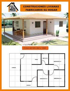 modelo #casaspequeñas modelo My House Plans, Bedroom House Plans, Modern House Plans, Small House Plans, House Floor Plans, Village House Design, Bungalow House Design, Village Houses, Small House Design