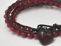 Leather Wrap Bracelet 2x with Gorgeous Ruby Red Faceted Glass Beads by LostSierraDesigns, New low price $22.50