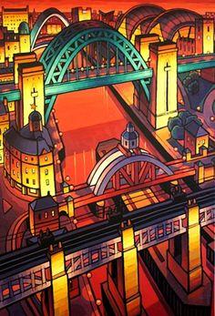 Four Newcastle Bridges Urban Landscape, Abstract Landscape, Newcastle Quayside, Urban Sketchers, Naive Art, Art For Art Sake, Contemporary Paintings, Urban Art, Art Images
