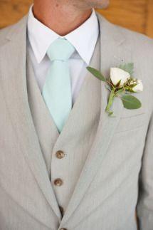 summer groom with mint tie