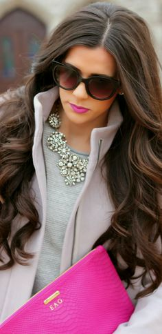 big hair, statement necklace, lavender coat and hot pink handbag to beat the winter blahs! cant wait for my hair to grow back Beauty And Fashion, Look Fashion, Classy Fashion, High Fashion, Fashion 2014, Fashion Photo, Street Fashion, Fall Fashion, Latest Fashion