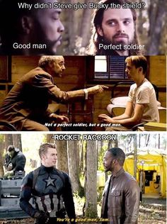 That is so sad, because Bucky is good man too but Hydra made him perfect soldier and broken man. That is so sad, because Bucky is good man too but Hydra made him perfect soldier and broken man. Marvel Avengers, Marvel Comics, Films Marvel, Funny Marvel Memes, Marvel Jokes, Dc Memes, Avengers Memes, Manga Comics, Marvel Heroes