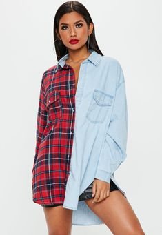 Search results for: 'Blue Stonewash Oversized Splice Plaid Denim Shirt' Distressed Denim Shorts, Denim Shirt, Denim Jacket With Fur, Double Denim, Basic Outfits, Casual Outfits, Summer Outfits, Printed Denim, Denim Outfit