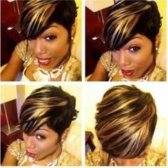 Resultado de imagen de Sew in Hairstyles for Black Women 27 Piece Short 27 Piece Hairstyles, Quick Weave Hairstyles, Bob Hairstyles, Short Sassy Hair, Short Hair Cuts, Short Hair Styles, Love Hair, Hair Pictures, Hair Dos