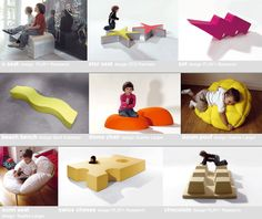 PLAY+ furnitures for children - seating. Reggio furniture/play objects transforming spaces.