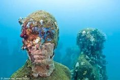 Jason deCaires Taylor casts giant cement sculptures and sinks them in the ocean to create a unique, ever-changing underwater sculpture park. Underwater Sculpture, Underwater Art, Underwater Photographer, Sculpture Art, Sculpture Garden, Under The Water, Under The Sea, Jason Decaires Taylor, Artificial Coral