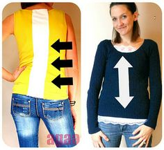 refashioning tops -- add a panel to back to enlarge a too-small shirt (thuen wear under jacket or cardigan). Add lace to bottom and neckline of a plain tank top to wear under too-short top to lengthen. Diy Clothing, Sewing Clothes, Plain Tank Tops, Altering Clothes, How To Make Clothes, Short Tops, Sweater Shirt, Diy Fashion, T Shirts