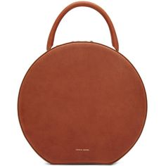 Mansur Gavriel Brown Leather Circle Bag (41.265 RUB) ❤ liked on Polyvore featuring bags, brown, duffel bag, leather bags, genuine leather bags, circle bag and brown bag