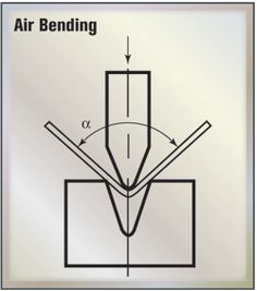 Air Bending—With air bending, the top tool presses a sheet into the V opening in… Mechanical Projects, Metal Projects, Welding Projects, Roll Forming, Metal Forming, Press Brake Tooling, Sheet Metal Tools, Metal Shaping, Metal Bending