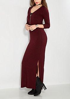 Marled Burgundy Zipped Maxi Dress $21.99