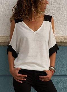 ivrose / Contrast Color V-Ausschnitt Cold Shoulder T-Shirt – Fashion Trends Cold Shoulder Bluse, Cold Shoulder Tops, Cold Shoulder Shirt, Fashion Outfits, Womens Fashion, Fashion Tips, Fashion Trends, Style Fashion, Fashion Ideas