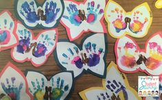 Butterfly hand prints! Great for spring bulletin boards!