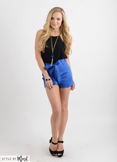 Time To Bow Up Shorts in Royal Blue