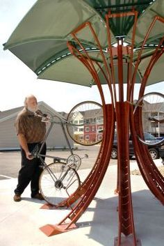 Tree-like vertical bike rack, designed and built in West Michigan, may pop up at ArtPrize