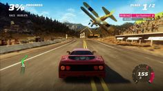 Forza Horizon features an updated version of the Forza Motorsport 4 engine. It also features new challenges. Here a Ferrari F40 races a biplane in a point-to-point race.