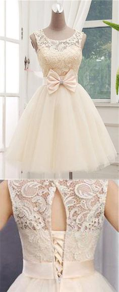 Lace Short Champagne Graduation Dresses,Ball Gown Sleeveless Homecoming Dresses,Bowknot Open Back Scoop Homecoming Dresses #champagne #homecomingdress #lace #tulle #scoop #openback #cute #mini #cheap