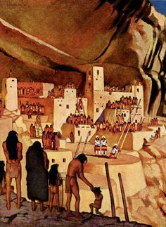 A painting shows Mesa Verde dwellers watching a ceremony by Wilfred Langdon Kihn