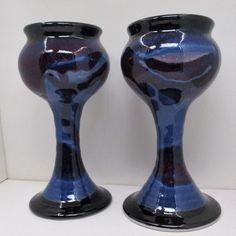 "Vintage RICK PETTEFORD Blue Purple 8"" Pottery GOBLETS"