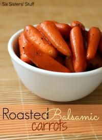 Roasted Balsamic Carrots from the Six Sisters on MyRecipeMagic.com will be the perfect veggie for your holiday meal! #carrots #roasted #balsamic
