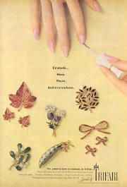 "1967  Trifari advertisement  ""Enamels here, there and everywhere"""