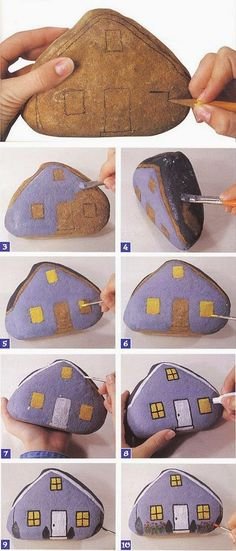 Step by step rock art! This easy step by step rock art or stone art can be used as a creative door-stop or to add some interest in a children's garden. Make a village of rock art with your children and have so much fun doing so! Pebble Painting, Pebble Art, Stone Painting, House Painting, Garden Painting, Rock Painting Designs, Rock Painting Ideas Easy, Stone Crafts, Rock Crafts