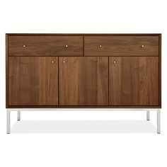 Delano Cabinet - Linden Table with Afton Chairs in Walnut - Dining - Room & Board