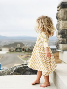 yellow striped dress | Alice and Ames | blondes | littles