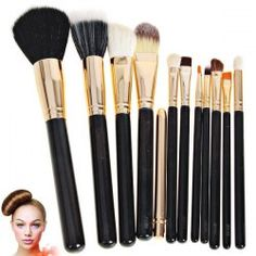 $12.10 Fashion 12PCS Soft Make-up Brushes with Plum Leather Pencil Bag