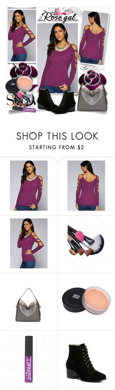 """""""Violet Cut Out Sleeve Blouse"""" by fashionb-784 ❤ liked on Polyvore featuring SANCHEZ, H&M, fashionable and rosegal"""