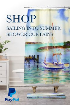 Sail Into Summer with these cool shower curtains for your bathroom design. Take 20% off using code HAPPY at checkout for a limited time!