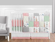 Woodsy Coral, Mint and Grey Crib Bedding Collection 9-Piece Crib Set - Baby's Own Room Deer Baby Bedding, Nautical Crib Bedding, Baby Deer Nursery, Baby Girl Nursery Bedding, Coral Bedding, Girls Bedding Sets, Crib Sets, Woodsy Nursery, Baby Room