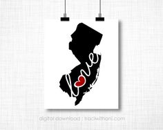 INSTANT DOWNLOAD - New Jersey, NJ  Wall Art Printable: Silhouette, Print, Digital, Heart, Home, State, United States, Typography, Artwork