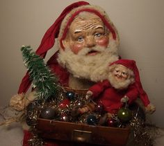 Handmade Little Sitting Santa Claus & Elf By Kim Sweet~Kim's Klaus~Vintage Leather Box Filled With Antique Tinsel Garland & Mercury Glass Beads~OoAk Vintage Antique Folk Art Dolls