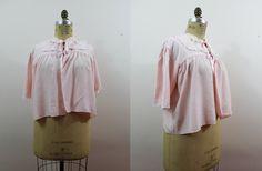 vintage 1940s bed jacket / 40s pink rayon bed jacket by livinvintageshop #lingerie #vintagelingerie #lace