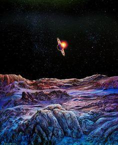 Space art - Saturn From Iapetus - Don Dixon Anime Galaxy, Galaxy Art, Art Visionnaire, Hard Science Fiction, Arte Sci Fi, 70s Sci Fi Art, Spaceship Art, Galaxy Background, Galaxy Painting