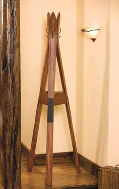Old Skis Repurposed into Coat Hanger Architecture + Interiors DIY + Crafts Wall Racks, Wall Hanger, Ski Decor, Cabin Interiors, Lodge Style, Boys Room Decor, Coat Hanger, Home Pictures, Tripod Lamp