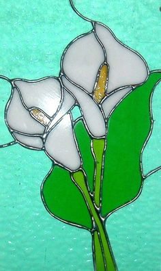 Calla Lilies Stained Glass Window by windflower on Etsy Stained Glass Suncatchers, Faux Stained Glass, Stained Glass Lamps, Stained Glass Designs, Stained Glass Panels, Stained Glass Projects, Stained Glass Patterns, Mosaic Glass, Stained Glass Flowers