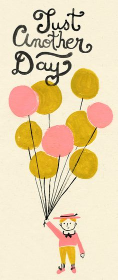 Danielle kroll- kid with balloons, illustration.