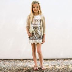 Illudia - Gold Sequin Leather Dress | Childrensalon