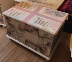 "shabby chic blanket box , decoupage fronts , pastel union jack and ""quaint"" poem , postal mark on the top xx"