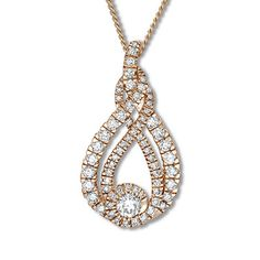 Interwoven Diamond Necklace 1-1/2 ct tw 10K Rose Gold