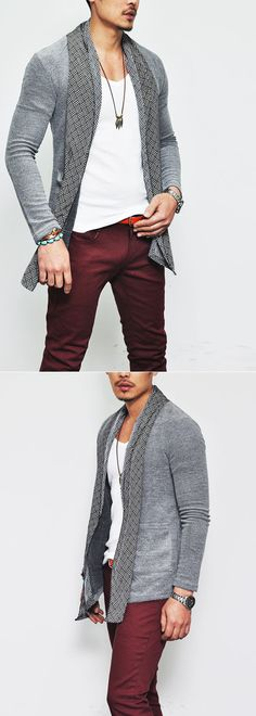 Outerwear :: Cardigans :: Ready-Stylish Lux Pattern Scarf Cardigan-Cardigan 39 - Mens Fashion Clothing For An Attractive Guy Look
