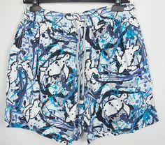 VILEBREQUIN Mens Swim Trunks XL Ocean Splatter Turtle Print Moorea Board Shorts