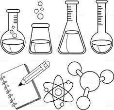 Science and chemistry set. Black and white coloring e-book web page royalty-free science and chemistry set black and white coloring e-book web page inventory vector artwork & extra photos of atom Vector Fisica Obtain Types Of Science, Science Week, Science Tools, Science Party, Science Worksheets, Preschool Science, Science For Kids, 8th Grade Science, Science Ideas