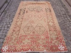 Modern Home Decor Vintage Pale Rose Turkish Kilim by Sheepsroad, $855.00