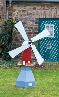 Unsere Mühle ist eine Wind- und Wassermühle in einem. Wir haben die Bauanleitung dafür.