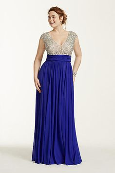 Crystal Beaded Cap Sleeve Bodice Prom Dress 1115DBW