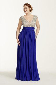 Crystal Beaded Cap Sleeve Bodice Prom Dress 1115DBW