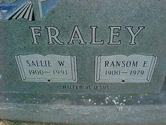 Sallie Williams and Ransom E Fraley. Sandy Hook, KY